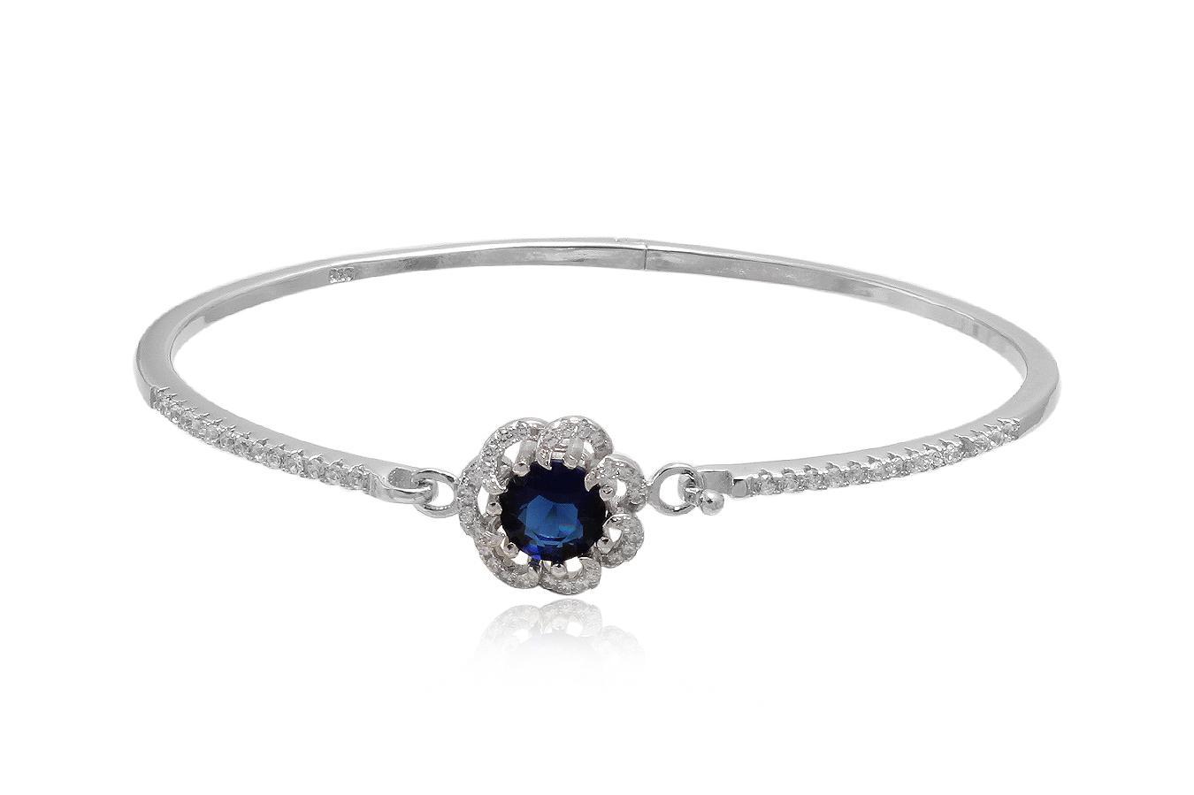 bratara argint cu floare albastra