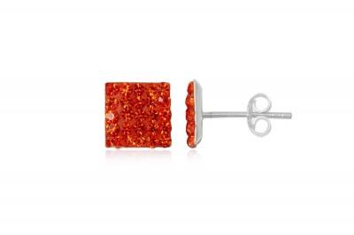 Cercei din argint cu cristale orange