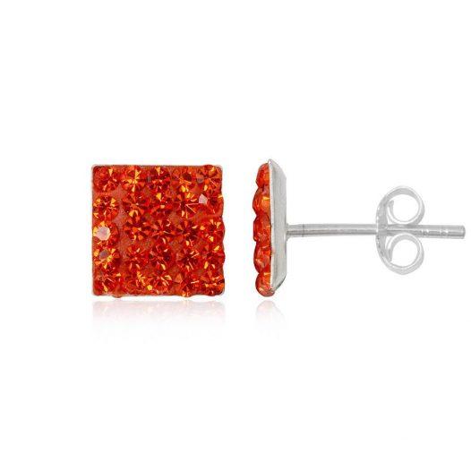 cercei argint si cristale orange
