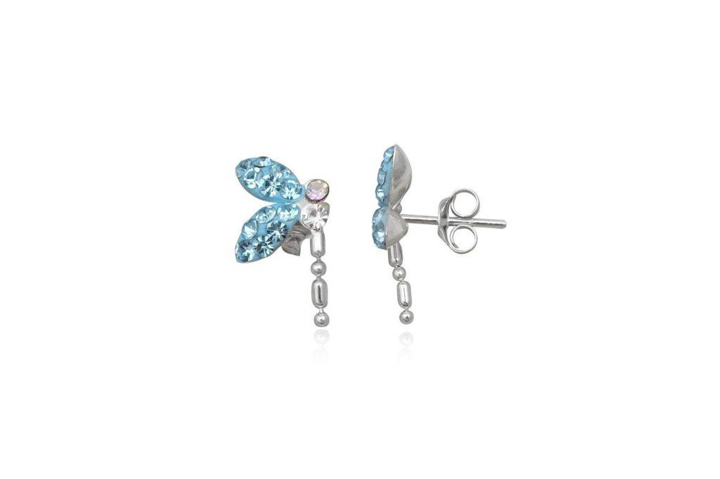 Cercei Fluturi Bleu Din Argint Si Cristale