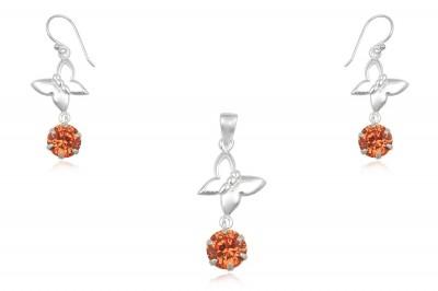 Set din argint cu fluturi si zirconii orange