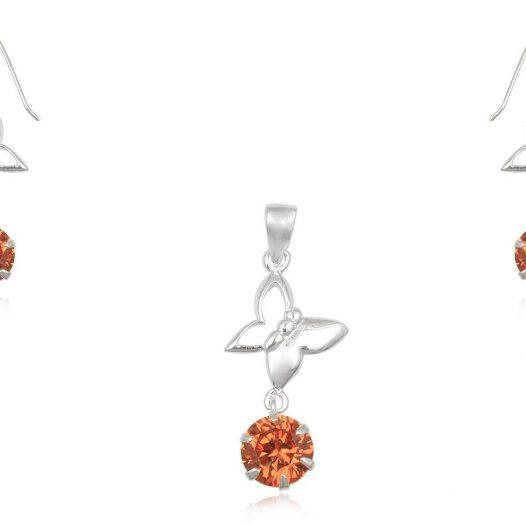 set fluturi argint zirconia orange