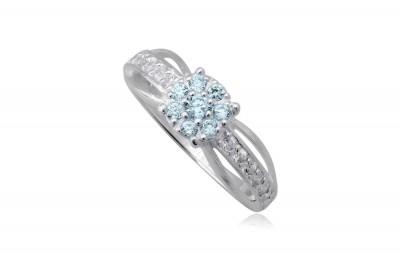 Inel din argint cu floricica bleu deschis