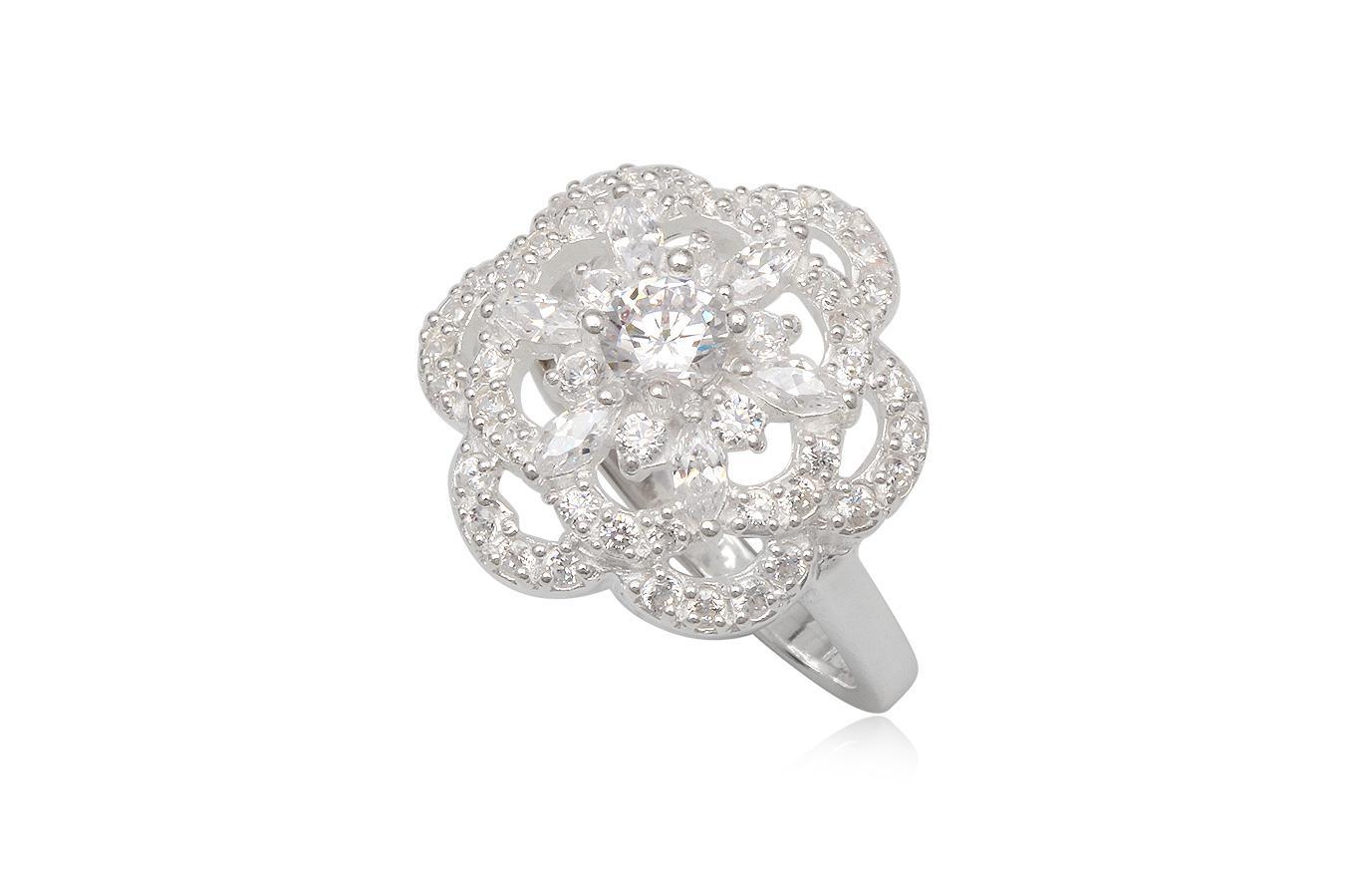 inel floare alba din argint