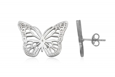 Cercei fluturi dantelati din argint