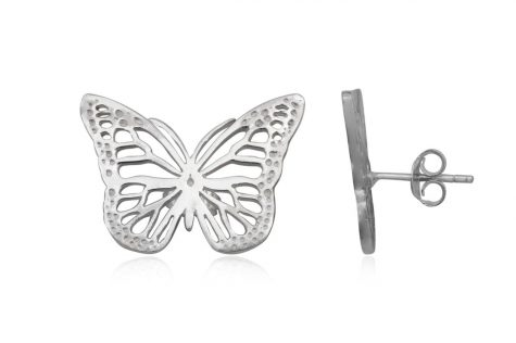 cercei fluturi dantelati argint