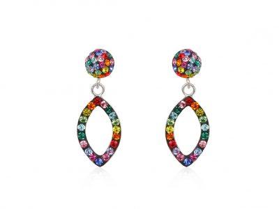 cercei lungi cu cristale multicolore
