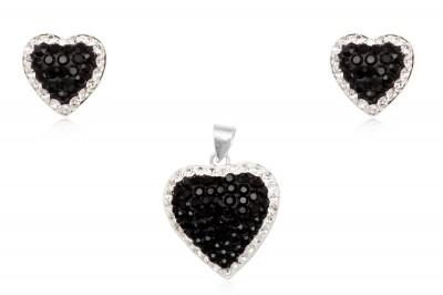 Set elegant din argint cu cristale in alb-negru