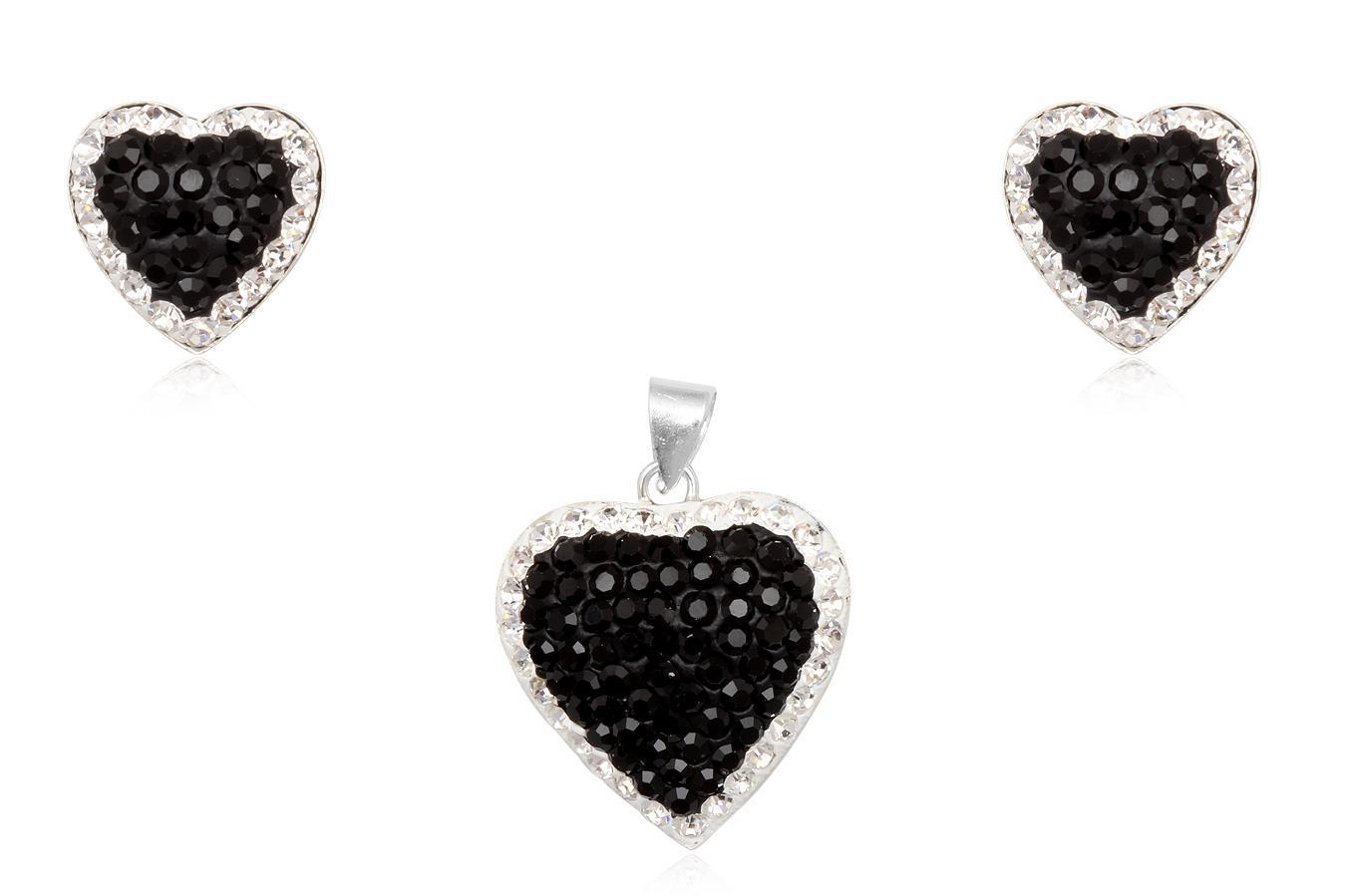 set inimi din argint cu cristale alb negru