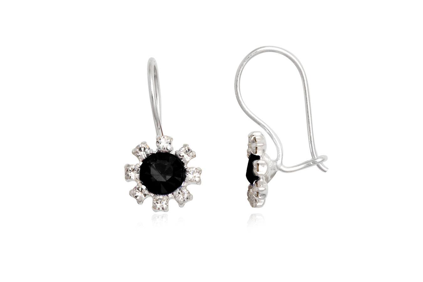cercei argint cu cristale alb-negru
