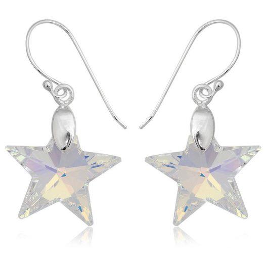 cercei stelute albe din cristal