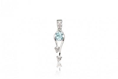 Pandantiv din argint cu topaz bleu si zirconii