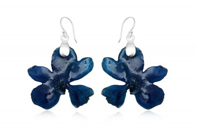 Cercei orhidee naturale albastre