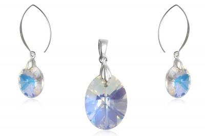 Set din argint si cristale ovale transparente