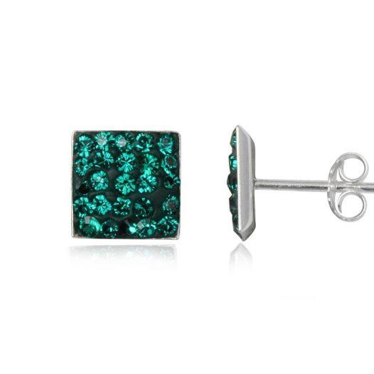 cercei cu cristale verde inchis