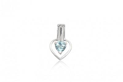 Pandantiv inima din argint si topaz bleu
