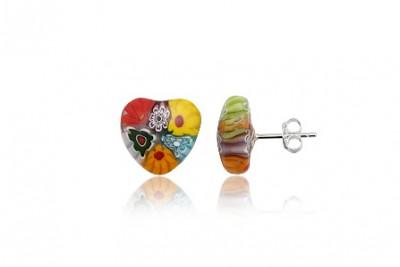Cercei inimi din sticla millefiori multicolora