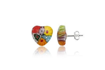 cercei inimi millefiori multicolori