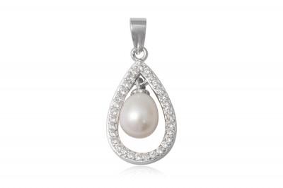 Pandantiv Lacrima din argint cu perla alba