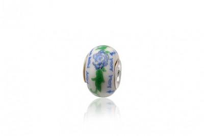Pandantiv din ceramica si floare bleu