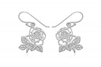 Cercei romantici cu trandafiri din argint