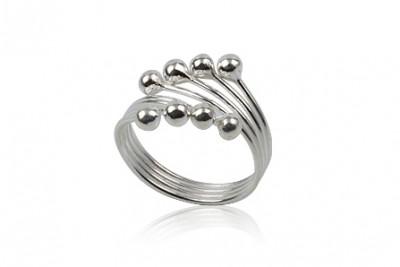 Inel din argint cu bobite micute