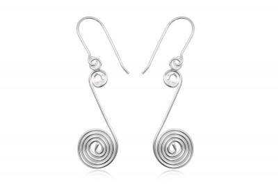 Cercei din argint cu model in spirala