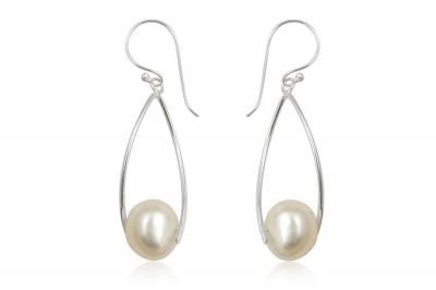 Cercei lungi din argint cu perle naturale