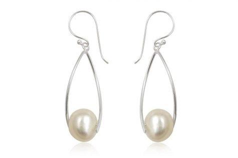 cercei lungi argint si perle naturale