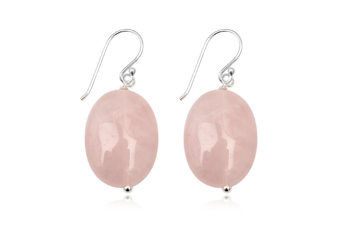 cercei ovali din cuart roz