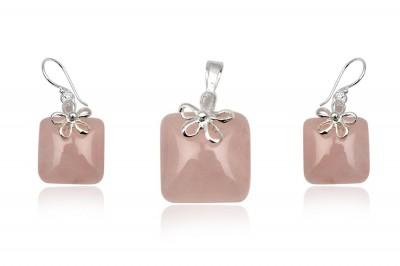 Set din cuart roz si floricele din argint