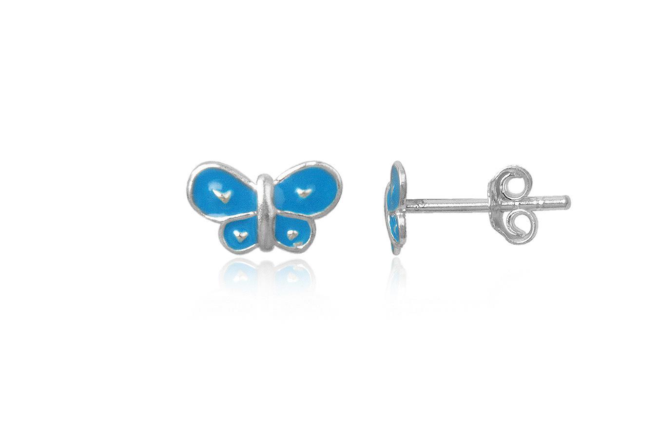 cercei copii fluturi bleu