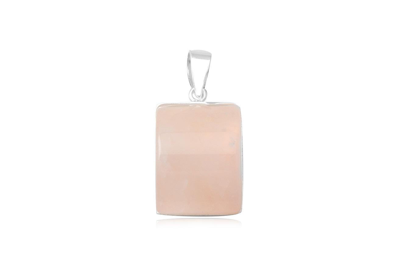 pandantiv cuart roz si argint