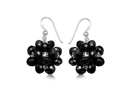 cercei flori mari cu cristale negre