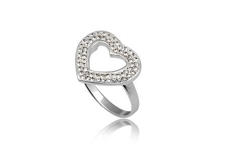 Inel inima din argint cu cristale