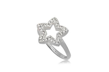 inel cu stea din argint si cristale