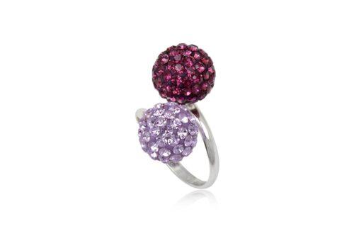 inel argint si cristale mov si violet