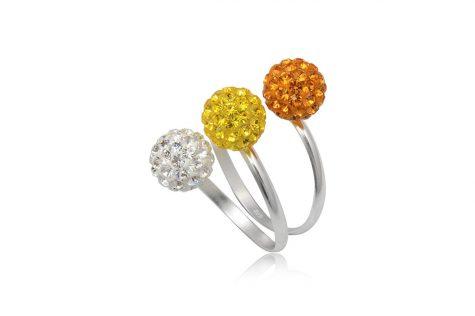 inel argint cu cristale in culori solare