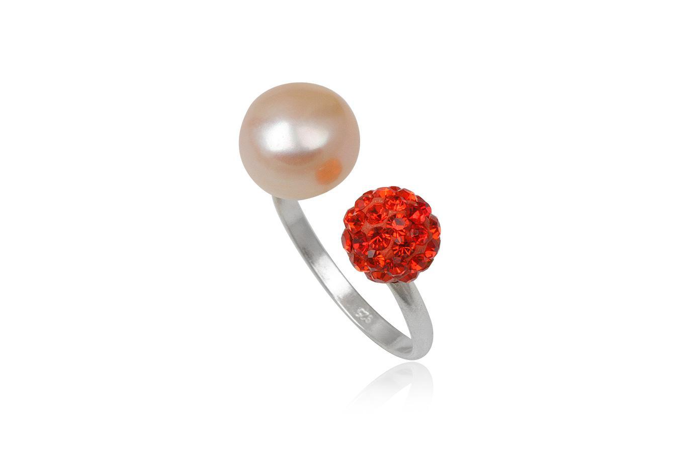 inel argint cu perla roz si cristale corai