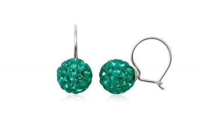 Cercei Bobite cu cristale smarald
