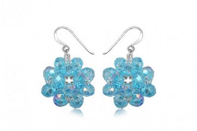 Cercei Flori superbe din cristale bleu