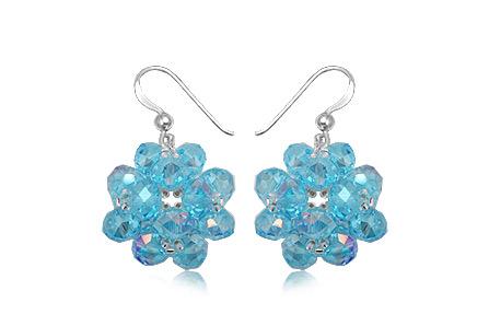 cercei flori mari din cristale bleu