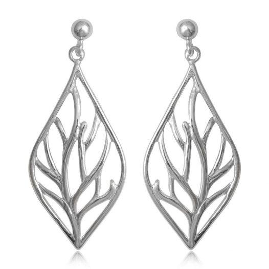 cercei lungi cu frunze din argint