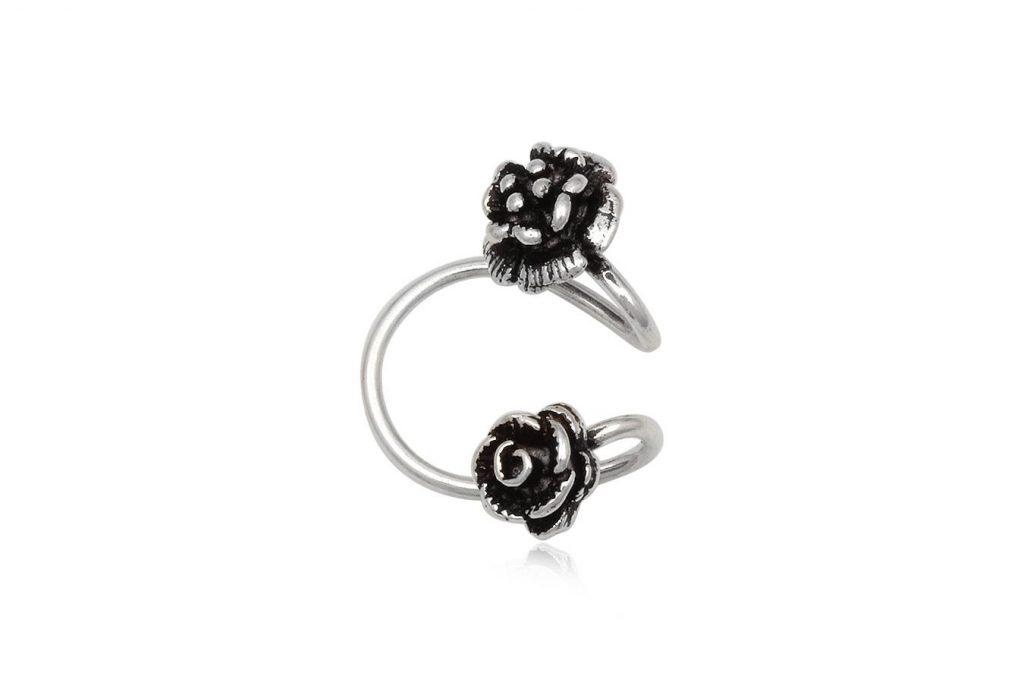 Cercel Ear Cuff Din Argint Cu Trandafiri