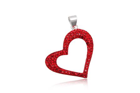 pandantiv inima cu cristale rosii