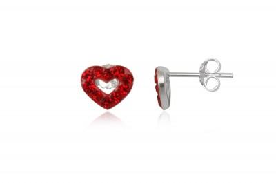 Cercei inimioare micute cu cristale rosii