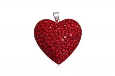 Pandantiv din argint Inima Rosie