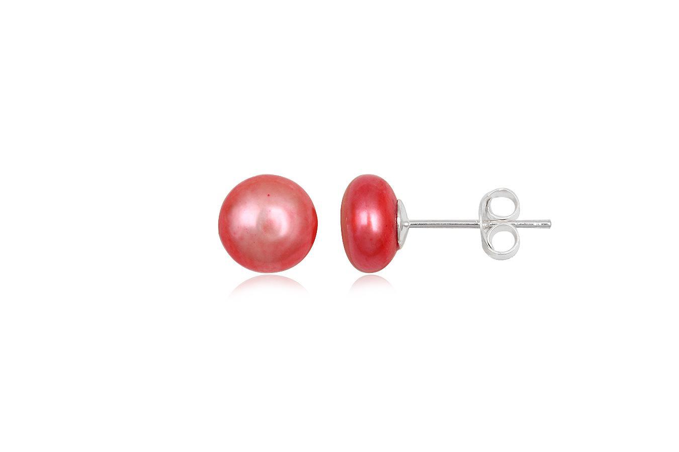 cercei perle rosii 8mm