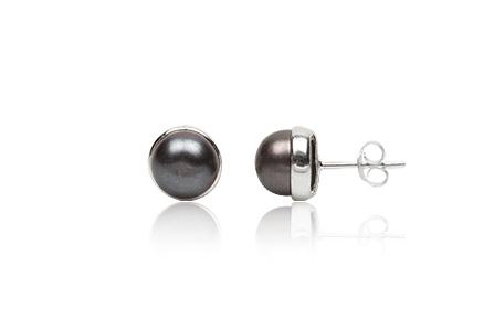 cercei din argint cu perle negre 8mm