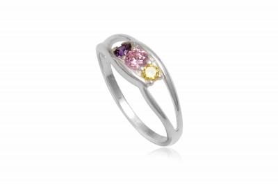 Inel din argint cu zirconii in trei culori